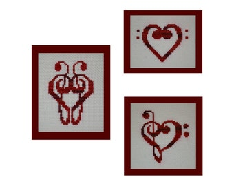 Music Clef Hearts Cross Stitch Pattern Collection, Treble and Bass Clef Hearts Embroidery Pattern Set, Instant Download PDF