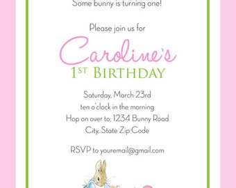Peter Rabbit BIRTHDAY Invitation -  GIRL - Personalized - PRINTABLE Digitlal File, 5x7