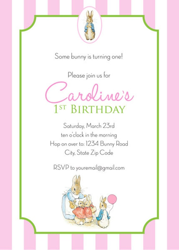 Peter Rabbit Birthday Invitation Girl Personalized Printable