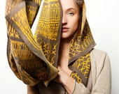 Sold out - custom order only. Yellow and grey Woman scarf, hand printed with an African inspired pattern by Dikla Levsky - DiklaLevskyDesign