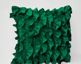 Emerald Green Satin Ruffle Pillow, Green Pillow, Satin Pillow, Decorative pillow, Green Ruffle throw pillow, Ruffle cushion, gift for her