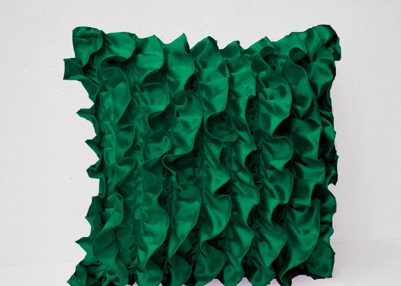Green Ruffle Throw Pillow : Emerald Green Ruffle Pillow Decorative pillow Green Ruffle