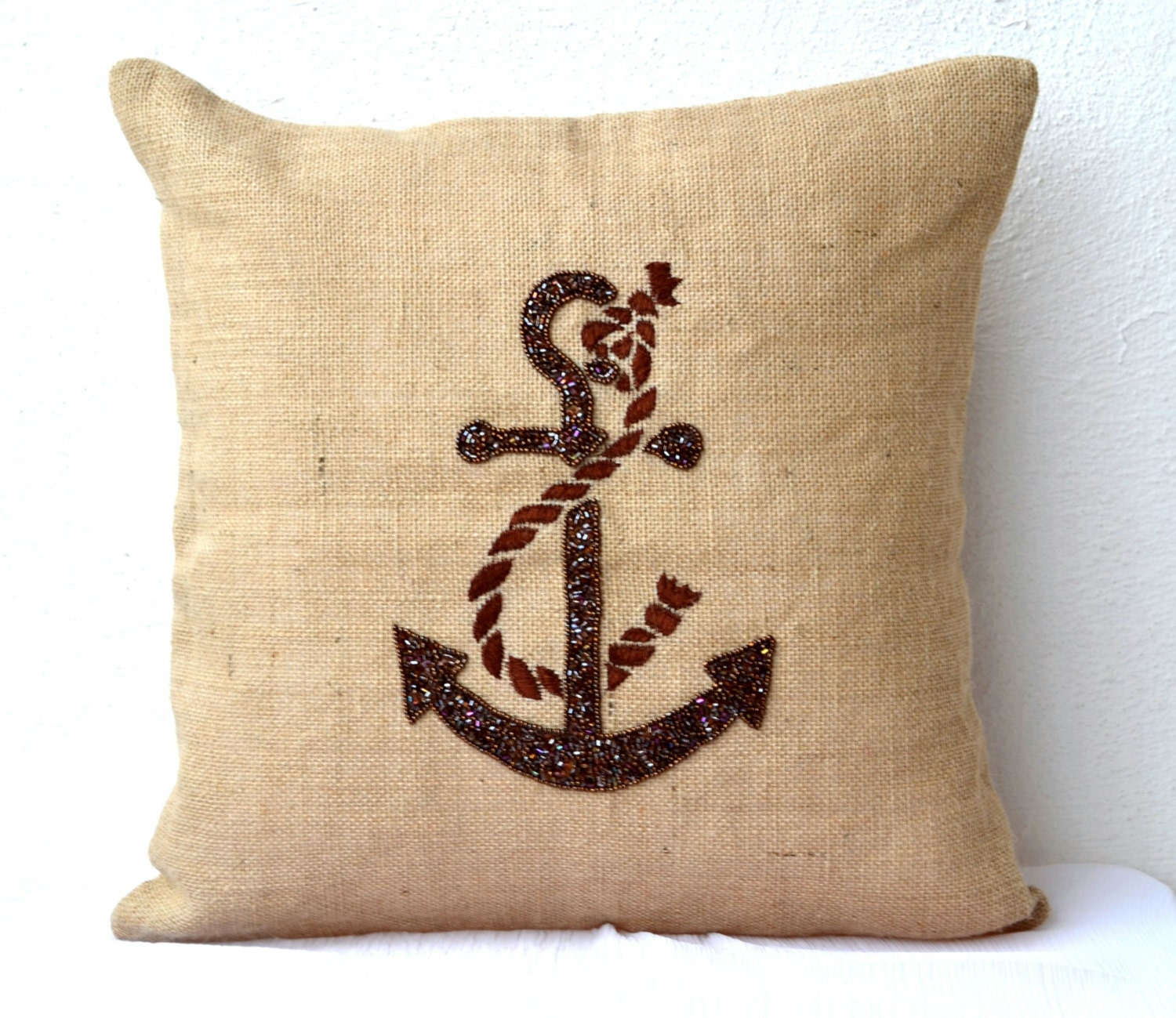 Anchor throw pillows Nautical pillow covers Beach by AmoreBeaute