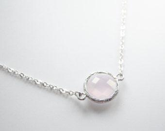 Pastel Pink Silver Framed Glass Necklace