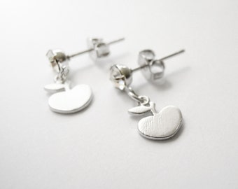 Silver stud earrings with tiny apple
