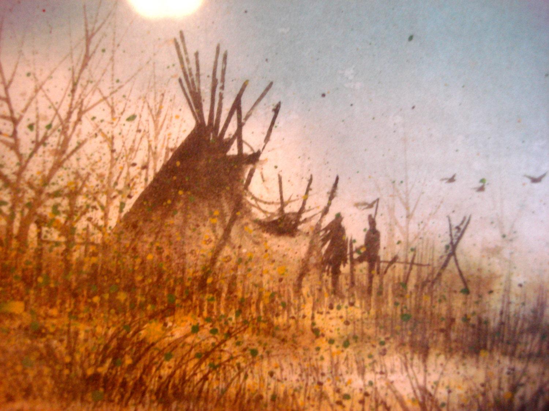 native american teepee landscape painting by wildlakevintage
