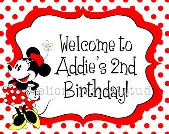 PRINTABLE Welcome Sign - Retro Minnie Mouse Party Collection - Dandelion Design Studio