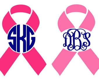 Breast Cancer Awareness Monogram Decal