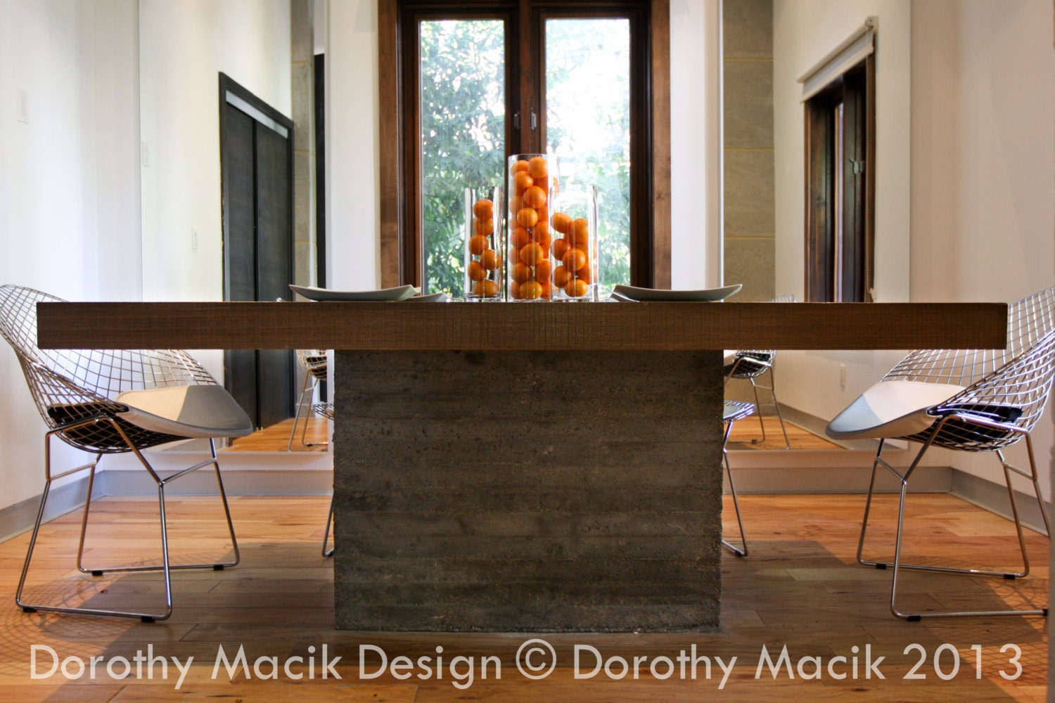 Custom Concrete And Wood Dining Table Rectangular