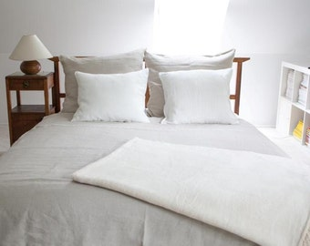 Linen bedding - 5 pcs, King size duvet cover and pillow cases, natural prewashed linen