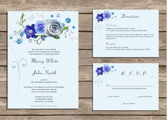 Royal Blue Wedding Invitation Cards: PRINTABLE Wedding Invitation Royal Blue Custom JPEG