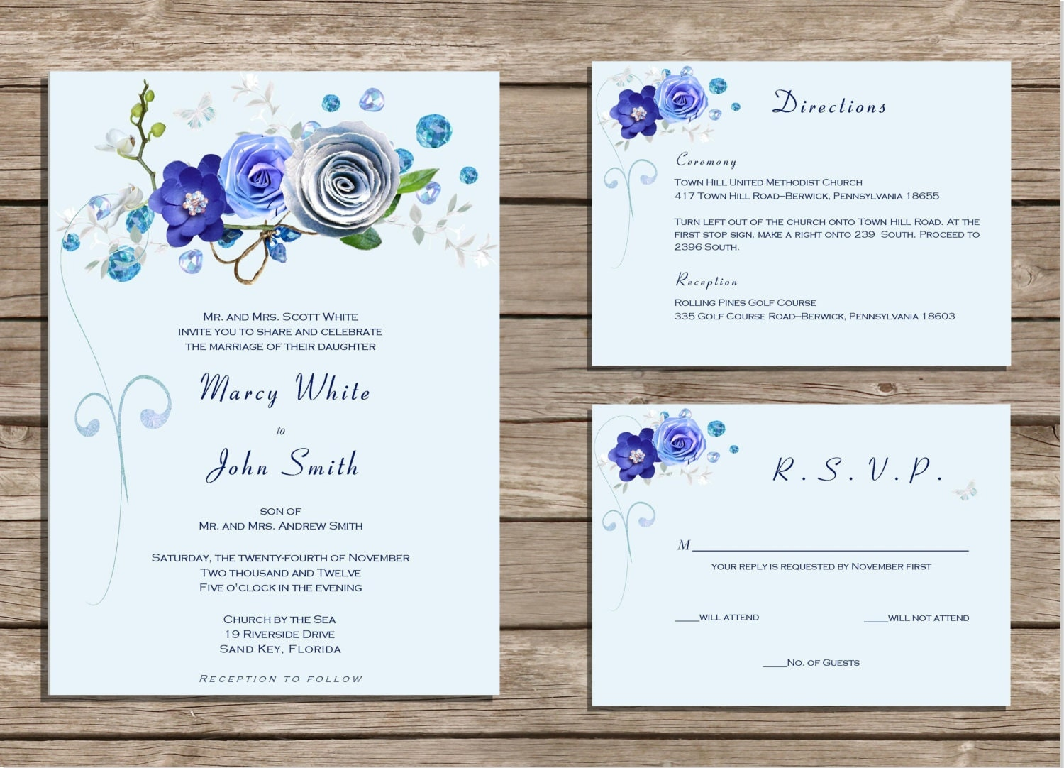 Wedding Invitation Designs Royal Blue: PRINTABLE Wedding Invitation