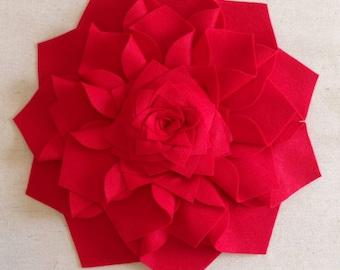 Really Big 16 Inch Red Felt Dahlia Flower Sculpture