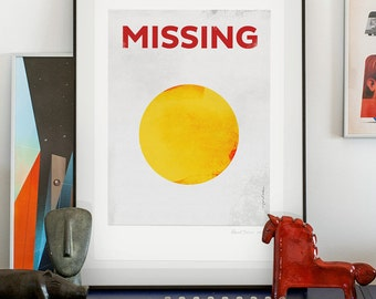 Missing (the sun). Illustration art giclée print signed by artist Pawel Jonca (me). A2 poster