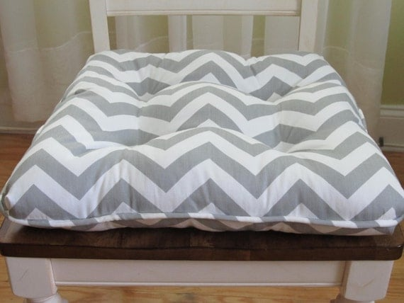 Tufted custom chair cushion with piping trim in gray by for Custom dining room chair cushions