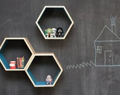 As Seen on Apartment Therapy // Turquoise Floating Honeycomb Shelves: Set of 3