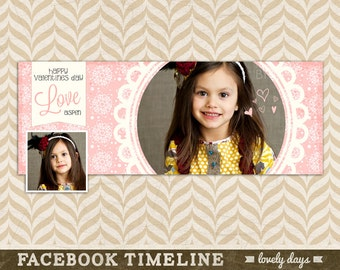 Facebook Timeline Design Valentines Day Template for Photographers INSTANT DOWNLOAD