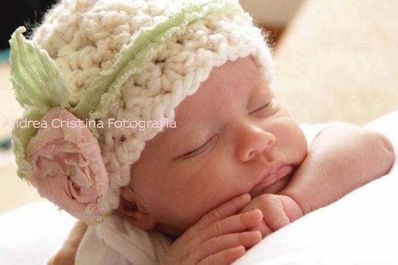 Crochet Newborn Baby Hat, Baby Girl Crochet Hat, Baby Girl Photo Prop Beanie, Baby Girl Flower Hat, Newborn Beanie, Baby Girl Hat