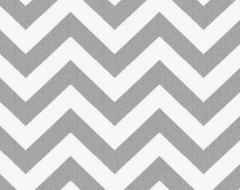One Yard  Zig Zag in Gray 100% Cotton Twill Fabric