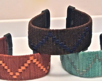 Suede Cuff Woven in a Continuous Wave Pattern
