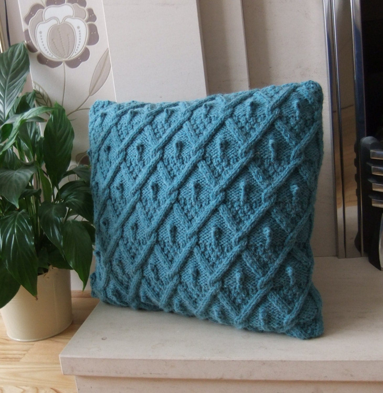 Knitted Cushion Cover Pattern Cable : Hand knitted Teal Diamond Cable Cushion / Pillow Cover