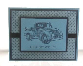 Happy Birthday Vintage Truck in Blue Hand Made Card, Masculine Birthday Card