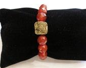 Gold Druzy & Carnelian Druzy Gold Bracelet