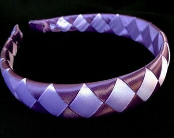 Woven and Padded Ribbon Headband in Purple and Lavender