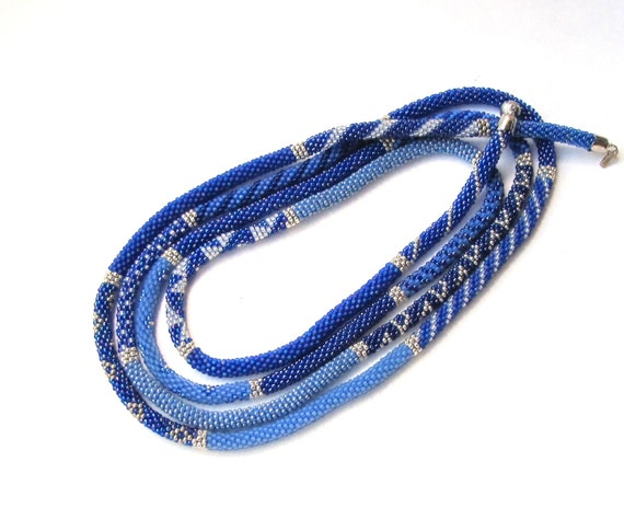 Modern Handmade Jewelry Long Bead Crochet Necklace
