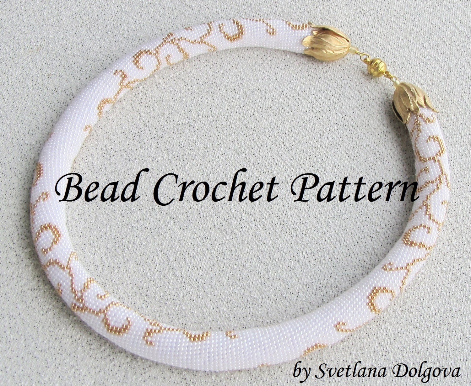 Pattern for bead crochet necklace Gold monogram by DolgovaSvetlana