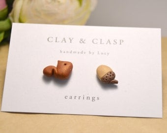 Squirrel and Acorn Earrings - beautiful handmade polymer clay jewellery by Clay & Clasp