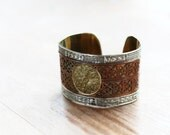 Handmade, Upcycled, Vintage Wrist Cuff, Gold, Silver, Copper Toned, 1960s vintage item