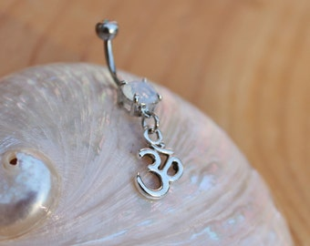 Om Aum Ohm Dangle Belly Ring Buddha