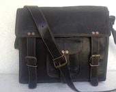 Handmade black leather messenger bag 11 inch leather IPAD bag / leather cross body bag/ leathershoulder bag  leather satchel