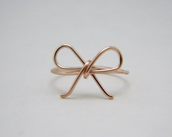 Rose Gold Bow Tie Ring • Tie the Knot • Forget me Not • Simple Dainty Rose Gold Ring • Bridesmaid Gift • Bride Wedding Shower Under 10