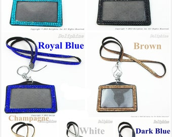 "Multi-Color Rhinestone Crystal Bling Necklace 18"" LANYARDs Key Chain Key Holder with Horizontal ID Badge Holder"