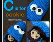 """Crochet Pattern: C is for Cookie Blue Monster Mittens 9m - 10yrs """"Permission To Sell Finished Items"""""""