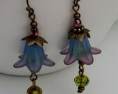 Earrings Featuring Czech. Crystal Beads Nestled Inside a Charming Little Violet