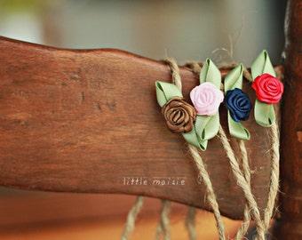 Tiny Rose Tie-Back Headband