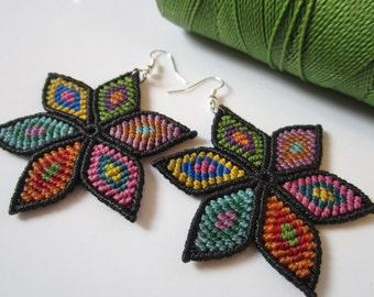 Multicolored Flowers Macrame Earrings