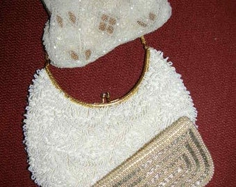 Lot 0f 3 Vintage 1950's Beaded Purse Bags