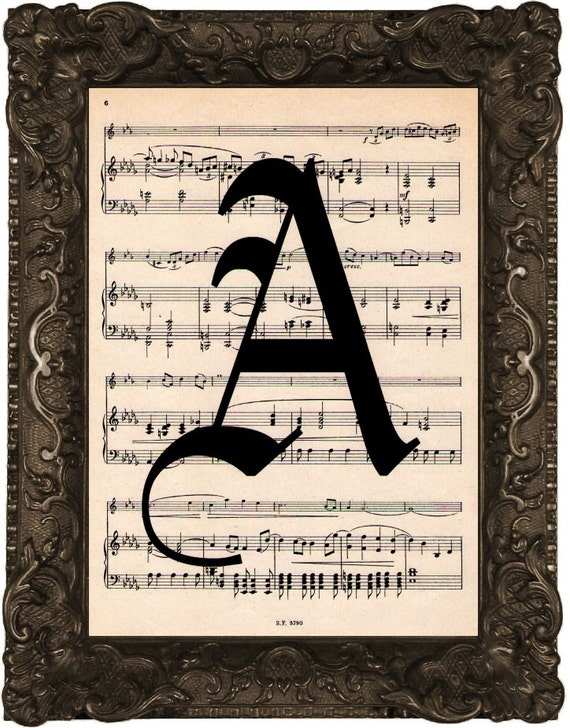 Custom letter a antique sheet music book page for Piano music books with letters