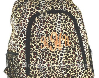 Monogram Backpack,Backpack, School Backpack,Large Backpack, Canvas Backpack,Girls Backpack, Personalized Backpack, Leopard