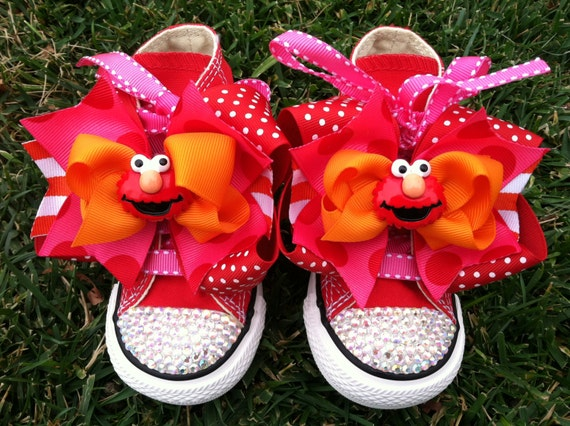 ELMO SHOES - Elmo Birthday - Elmo Party - Elmo Costume - Crystals - Sparkle Toes - Red Converse - Infant/Toddler/Youth sizes - Elmo bows