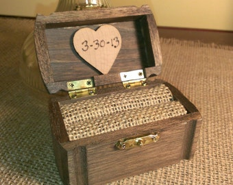rustic wedding ring box, burlap wedding wooden ring box