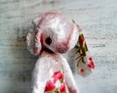 Teddy bear OOAK floral bunny artist bear 10 inches pale pink creamy ivory