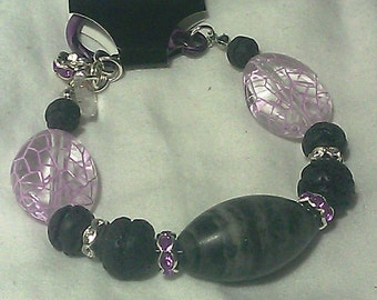 Purple Cracked Bead, Lava Rock, Swarovski Crystal and Agate Center Bracelet