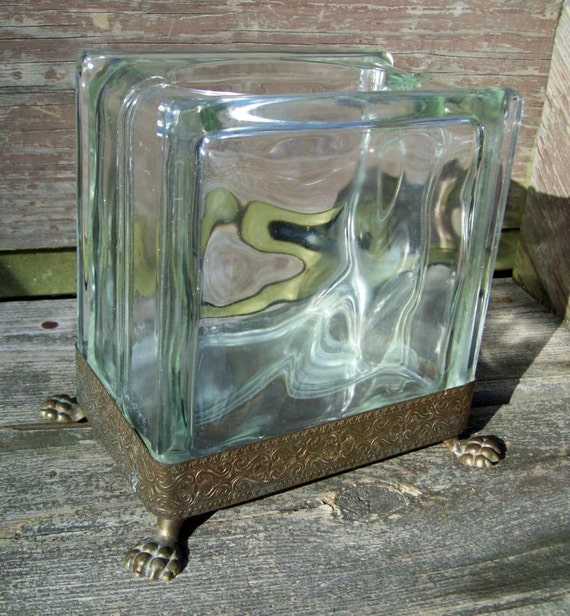 Vintage glass block vase ornate metal frame and legs for Glass block window frame
