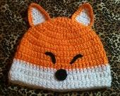 Crochet baby fox hat