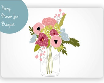 Peony Mason Jar Bouquet Digital Clip Art